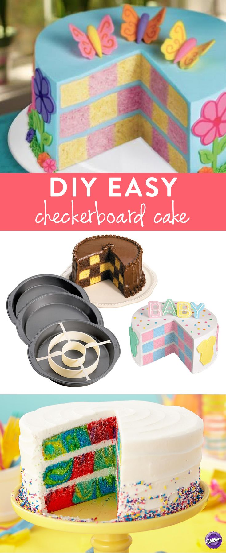 Wilton Checkerboard Cake Set - Make checkerboard cakes as easy as 1-2-3 with Wilton's Checkerboard Cake Set! The set includes three 9-in. x 1.5-in. cake pans plus the dividing ring, making three-layer checkerboard cakes easy to bake and create.