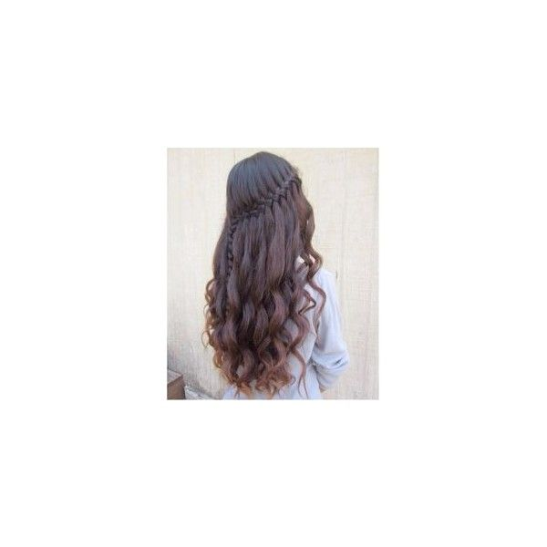 Simple Waterfall Braid Curls Hair and Beauty Tutorials ❤ liked on Polyvore featuring beauty products and haircare
