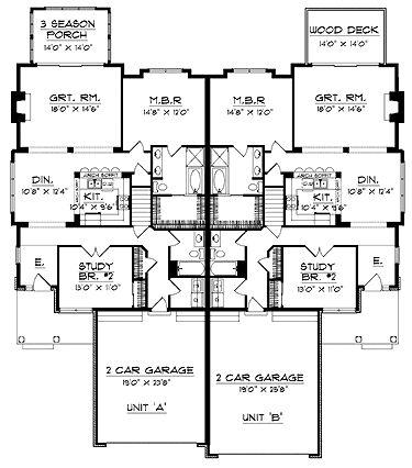 Duplex House Plans Simple Story Square Story Beach Home Plans