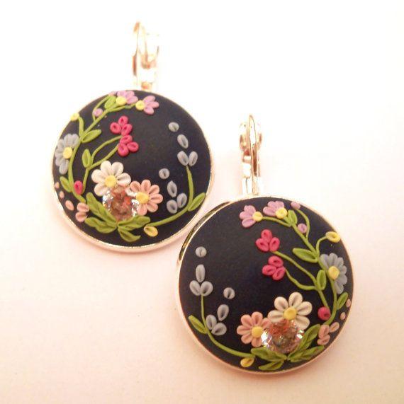 Dark Blue Earrings Sterling Silver Earrings by FairyFlowersJewels