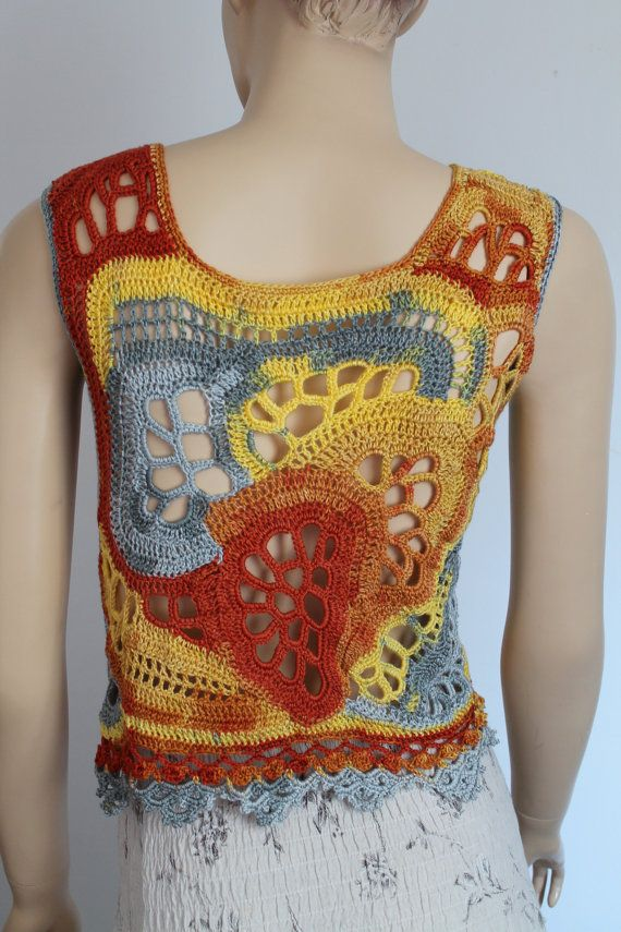 Chic Boho Hippie Multicolor Freeform Crochet Tank - Top - Summer Lace Top - Beach clothing - one of a kind - Size S -M - ready to ship