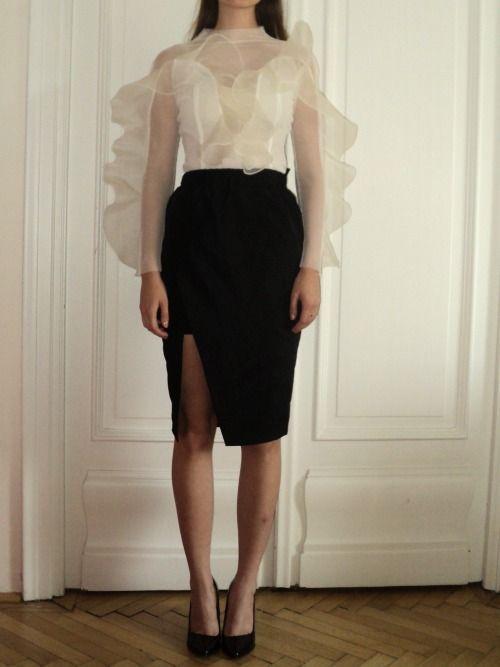 Nora Sarman  silk organza blouse and silk taffeta skirt