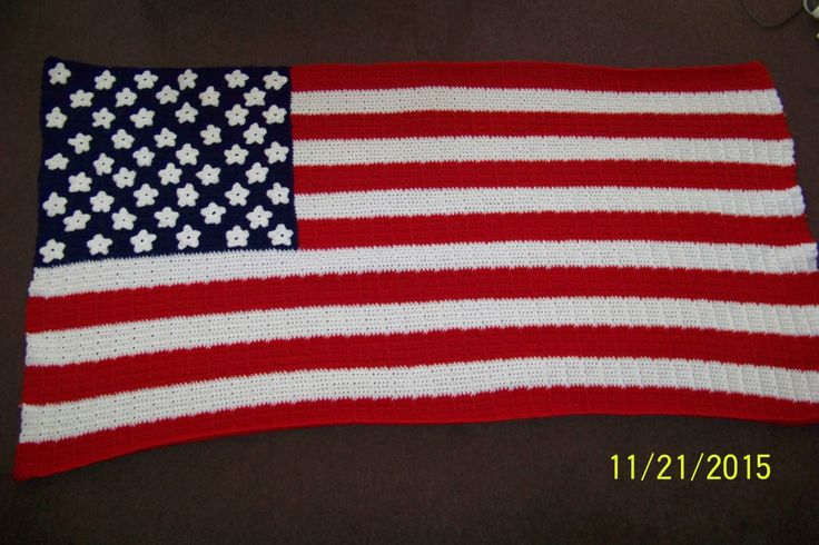 """American Flag crochet blanket-red, white and blue """"These Colors Never Run"""" - pinned by pin4etsy.com"""