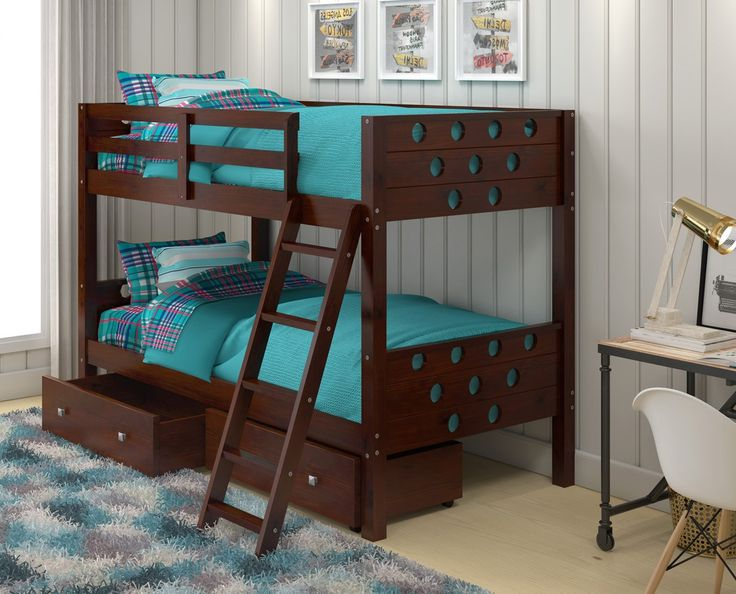 Our fun Twin over Twin Circles Bunk Bed for Kids with dual underbed storage drawers efficiently saves space in any child's bedroom. Constructed out of sturdy 100% Brazilian pine wood with steel reinfo