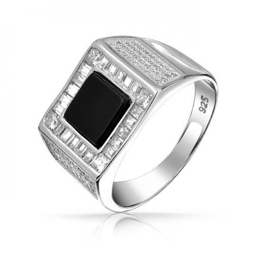 Black Onyx Color Baguette Square CZ Mens Engagement Ring 925 Silver