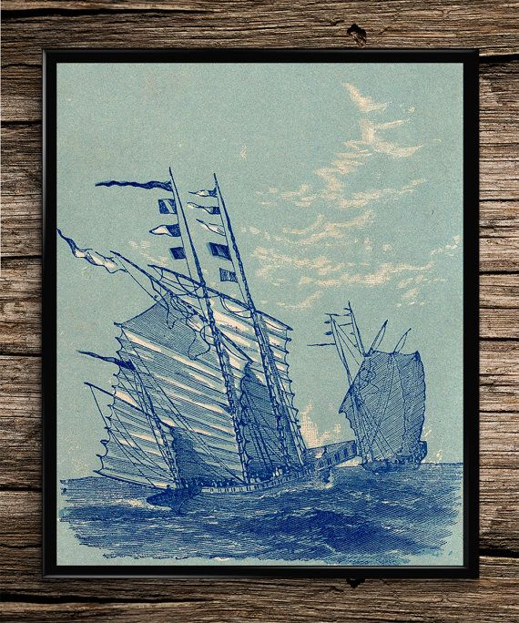 Blue Ship Set Vintage Print Nautical Print by UniquelyGiftedArt