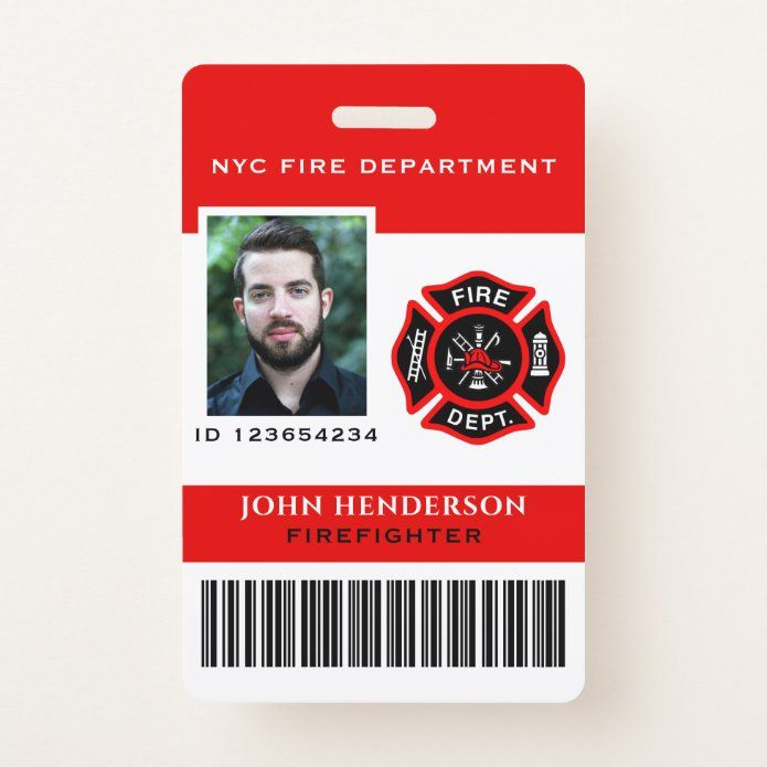 Modern Photo Firefighter Id Badge Zazzle Com Id Badge Planner Book Firefighter