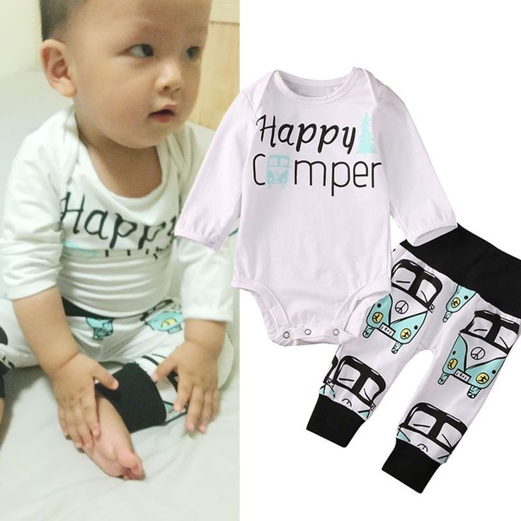 Happy Camper New Baby Boy Gift Set VW Retro Van Top Bottoms & Beanie Infant Baby Shower Gifts Boy's Clothing Apparel USA Shipping 0/6mo Retro Camping Van Bus