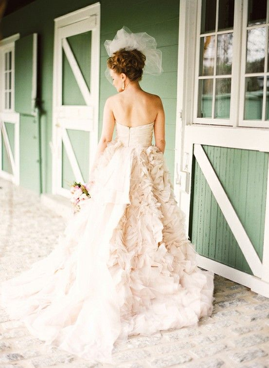 Gorgeous ruffle nude blush wedding dress if only the for Wedding dress skirt only