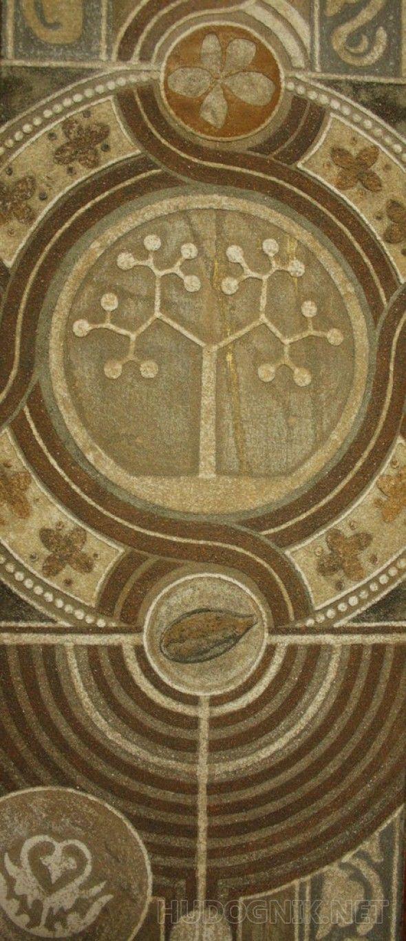 """Творение. Фрагмент, среднего уровня Авторская техника """"археологическая живопись"""". Работа выполнена песком и дроблённым камнем.   Фрагмент среднего уровня картины. Творение - это одновременно  возрождение и экзистенция, выставление всего тварного  бытия вперёд. На примере символа яблони, семечка, цветка, и плодов на дереве, показаны условно этапы манифистации  преображения Себя как самой Жизни в динамике."""