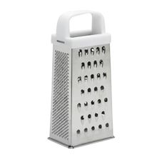 This plastic handled grater has four sides for different size grating and slicking, great for cheese or vegetables. Assorted colours