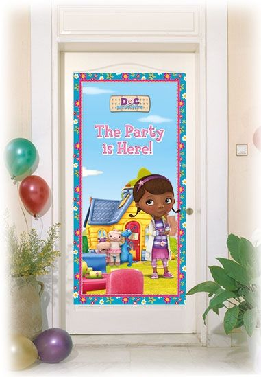 Snygg dekoration i temat Doktor Mcstuffins, att sätta på dörren så att alla dina vänner hittar till kalaset. Eller varför inte på födelsedagsbarnets dörr.