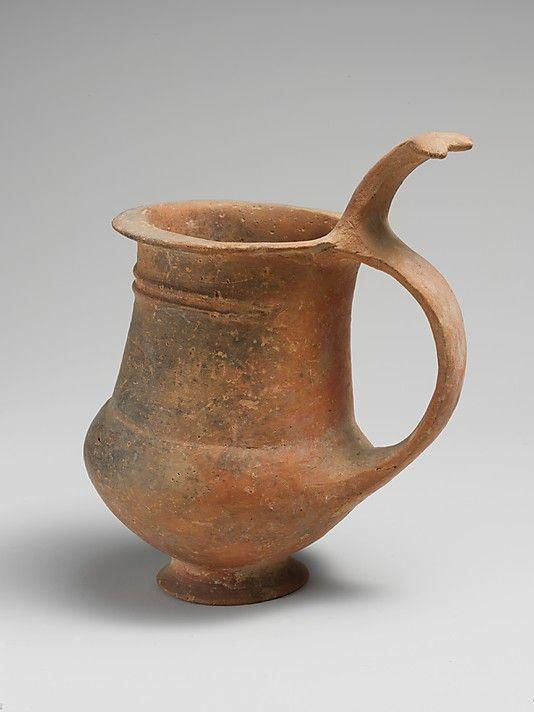 The Metropolitan Museum of Art - Terracotta tankard, Late Cypriot I-II Date: ca. 1600–1200 B.C. Culture: Cypriot Medium: Terracotta Dimensions: H. 4 9/16 in. (11.6 cm)