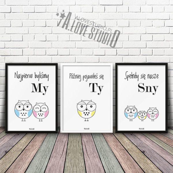 Plakaty Dla Dzieci V1 Do Pokoju Chłopca Sowia Rodzina 2 Plus