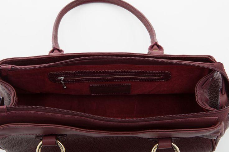 Cathy Prendergast Irish Designer Leather Handbags - Banba Burgundy Tote Bag | suede interior