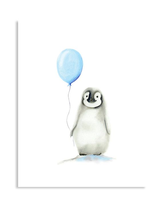 Penguin Nursery Art, Arctic Animal Balloon, Boy Nursery, Baby Animal Painting, Blue Nursery Art, Gender Neutral Baby, Wall Decor, Art Print