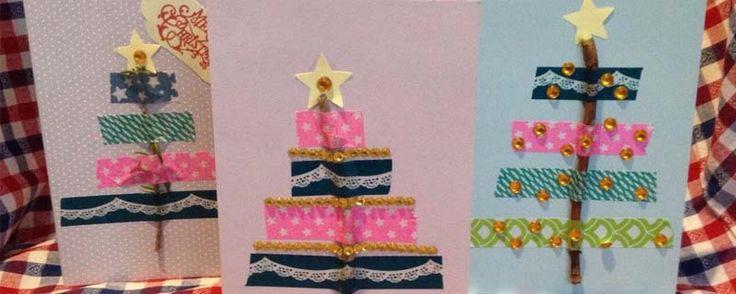Kerstkaarten knutselen met washi tape