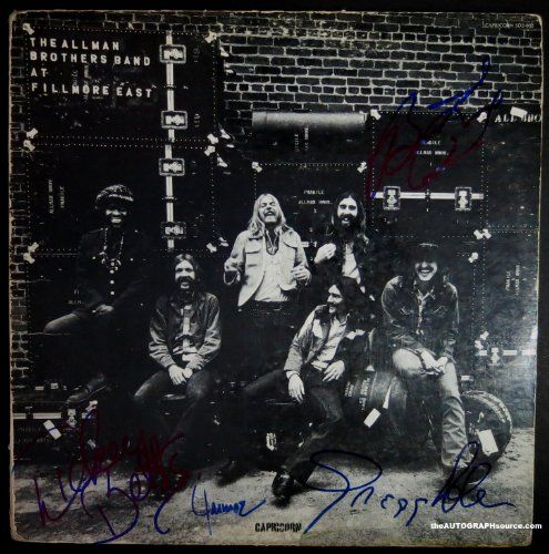 The Allman Brothers Band Signed Album - Fillmore East. Rare, AUTHENTIC signatures. Independent third-party authentiation from industry leader PSA/DNA. Fillmore. The Allman Brothers Band Signed Album. Long-time legitimate autograph dealer from Aspen, Co. BEWARE of fakes on the internet and Amazon.