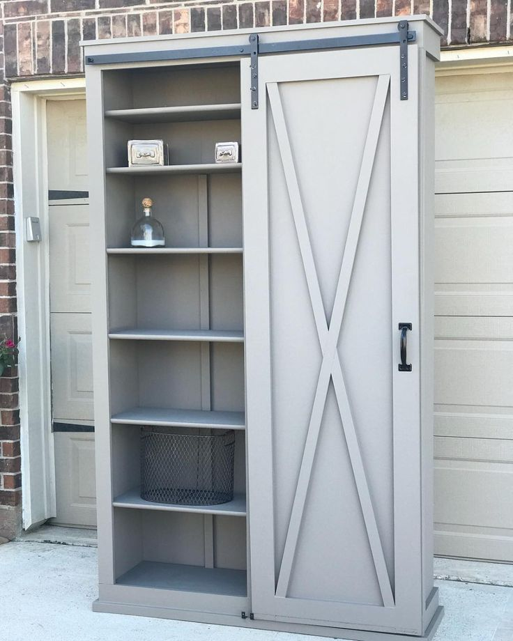 Barn Door Cabinet With Hooks For Entryway