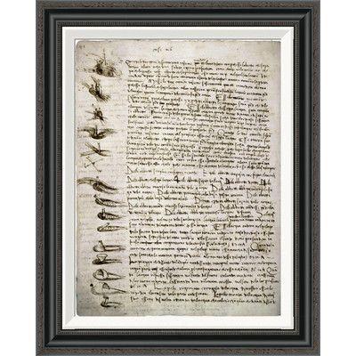 Global Gallery 'Codex Leicester: Water Flow' by Leonardo Da Vinci Framed Textual Art Size: