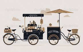 Baixar - Carrinhos de bicicleta de café e sorvete — Ilustração de Stock #66481707
