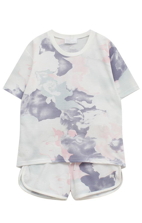 Camouflage Print Short Sleeve T-shirt With Drwastring Shorts Suit