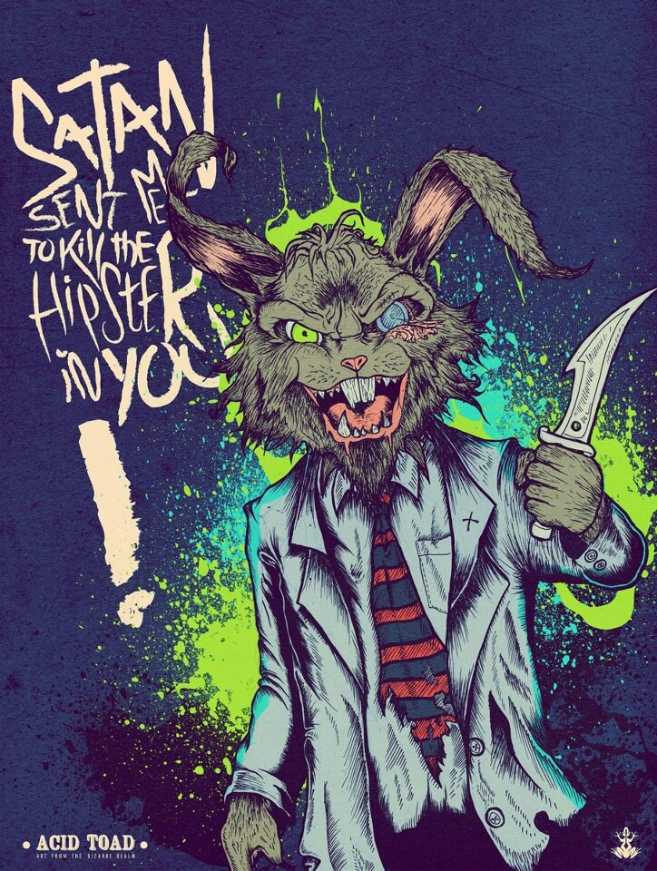 Art by Acid Toad #kvlt #angrybunny #diehipstersdie