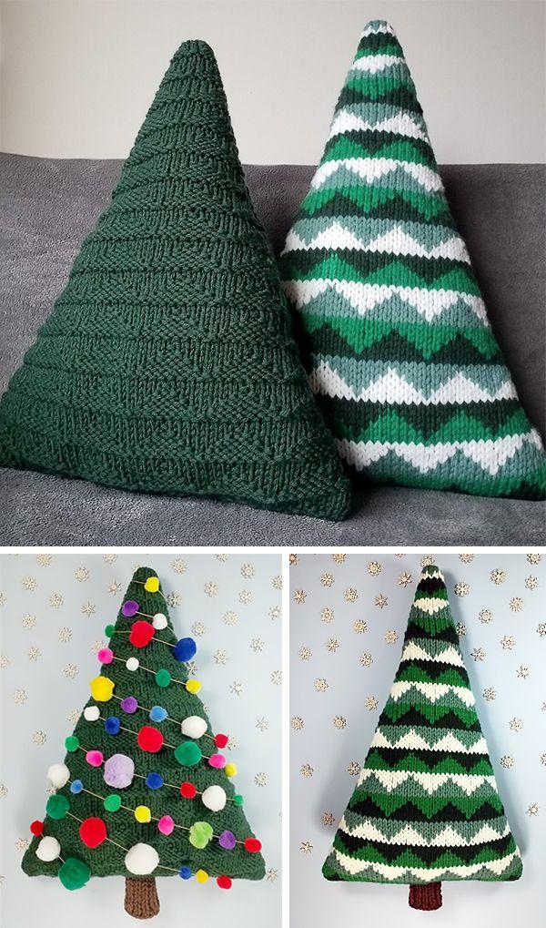 Free Knitting Pattern For Christmas Tree Cushions Christmas Knitting Patterns Christmas Knitting Christmas Crochet