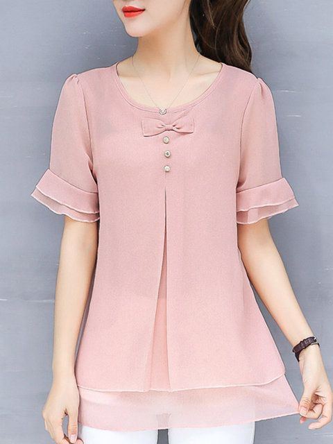 Solid Flods Bow Casual Frill Sleeve Chiffon Plus Size Blouse – Mary Brito