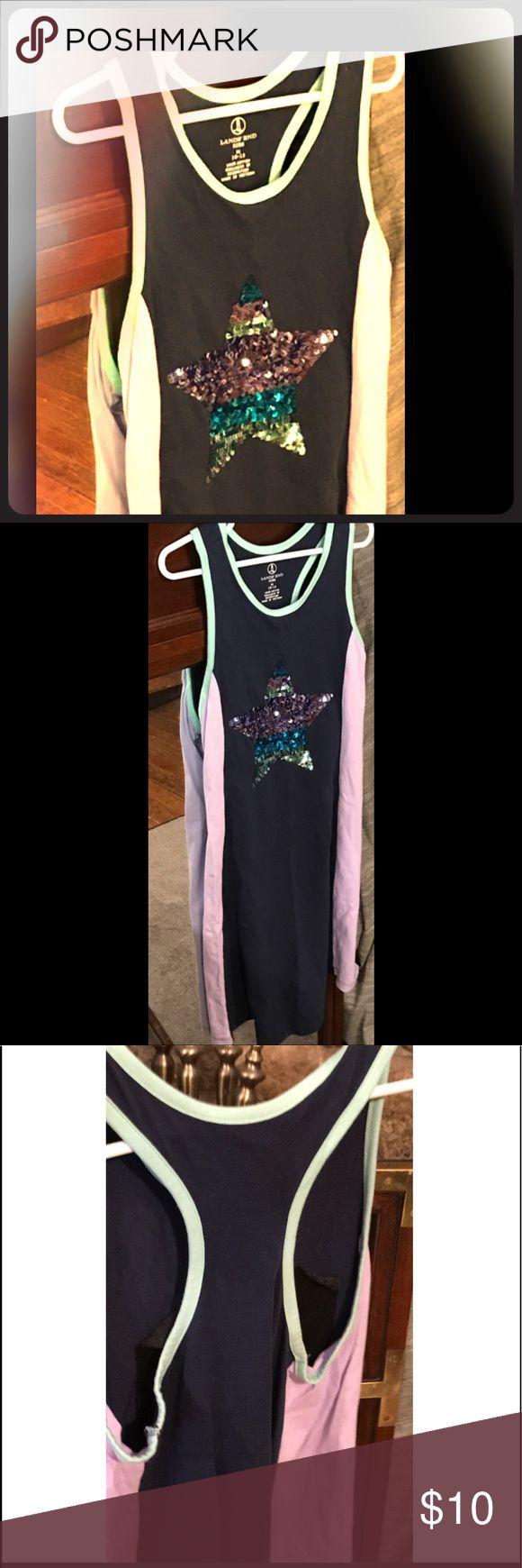 Lands End Kids 10-12 Sequin Summer Dress Lands End Kids 10-12 Sequin Summer Dress. Cute and Comfy dress. Base color is Navy Blue. Lands' End Dresses Casual