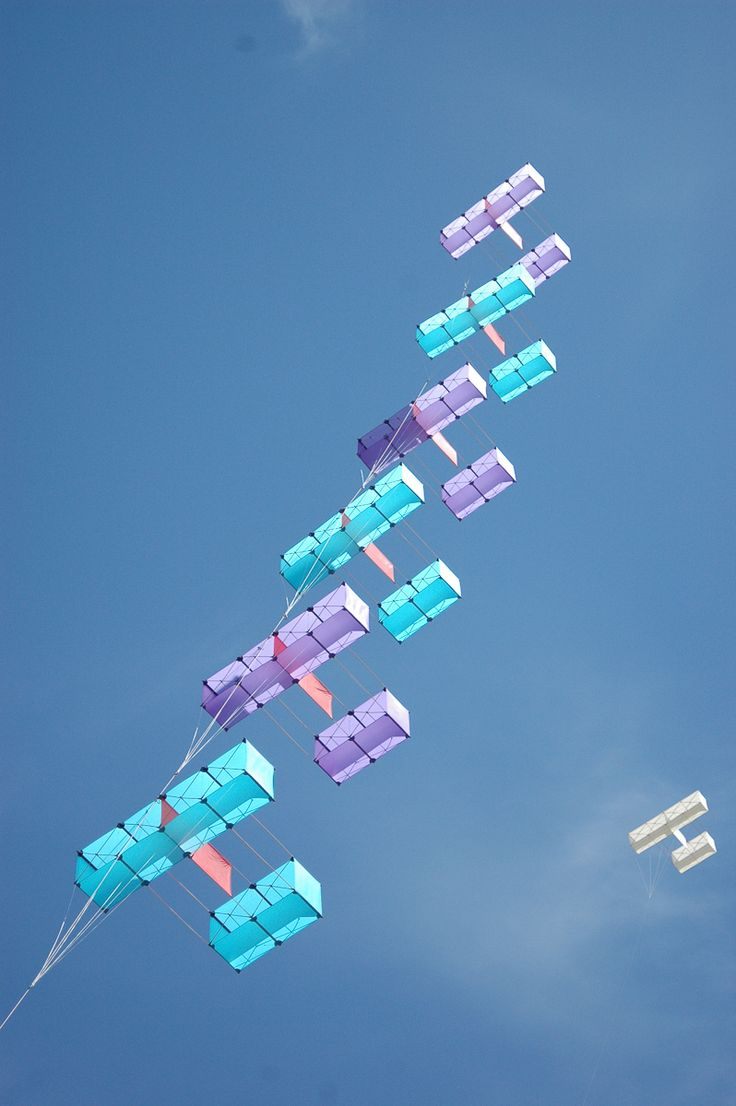 A tasteful train of six Hargrave Box kites, apparently being flown at the Fanoe Kite Festival in 2005. Each kite is flying on it's own short tether, since a 'straight through' arrangement is more suited to single-surface kites. T.P. (my-best-kite.com)