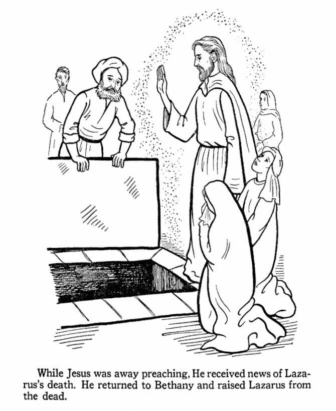 Jesus raises lazarus from the dead bible jesus miracles for Jesus brings lazarus back to life coloring page