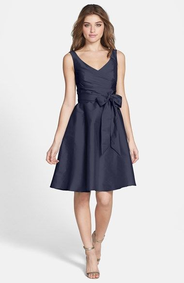 Free shipping and returns on Alfred Sung Satin Fit & Flare Dress at Nordstrom.com. A wrapped V-neck bodice above a charming circle skirt shapes a pretty cocktail-length dress cut from luminous peau de soie. A complementing sash further defines the feminine figure.