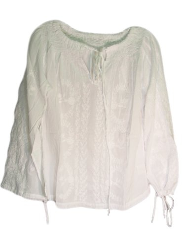 Women's Snow White Embroidered Peasant Neck Blouse « Clothing Impulse