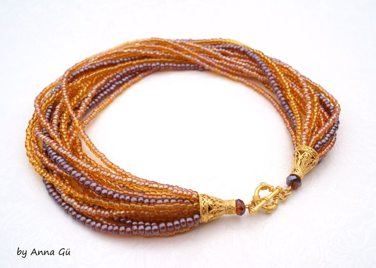 Amber necklace Amber color Amber jewelry Honey Brown necklace Bronze necklace Threads by byannagu on Etsy