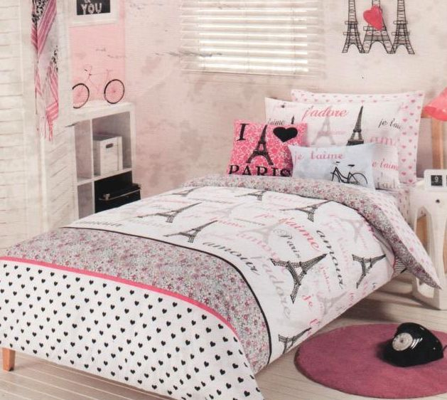 Paris Chic Eiffel Tower Pink White Queen Quilt Cover Fitted Sheet 4 Cases 2 Cush