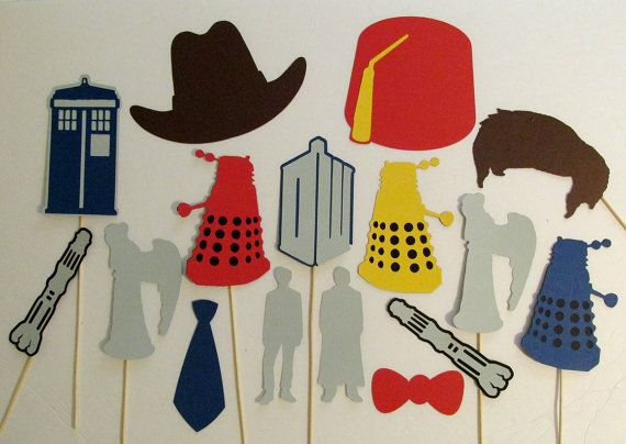 Inspired by Dr Who Party The Doctor Photo Booth Props Dr Who Wedding Tardis Dalek Weeping Angel Sonic Screwdriver Dr Who Party Decorations