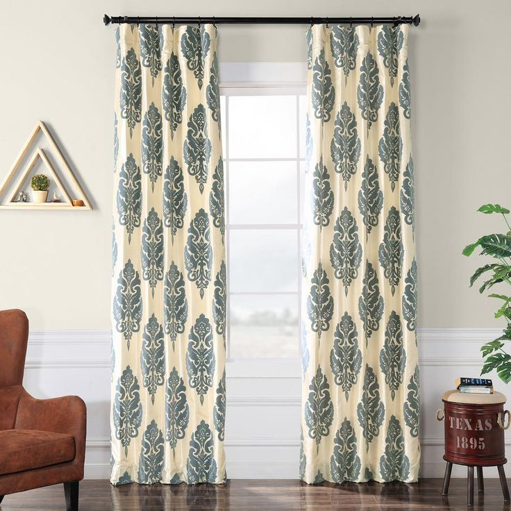 Exclusive Fabrics & Furnishings Francesca Silver and Blue Flocked Faux Silk Curtain – 50 in. W x 96 in. L-PTFFLK-C38-96