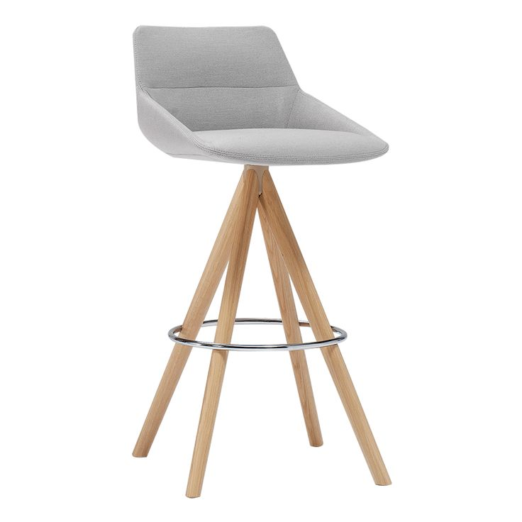 Dunas XS 3.1 in Gray from Sandler Seating's InClass collection. Upholstered barstool on a wood swivel base.