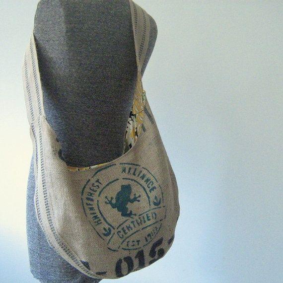 burlap bags repurposed | Repurposed Burlap Coffee Bean Sack Hobo by OneWomanStudio on Etsy, $65 ...