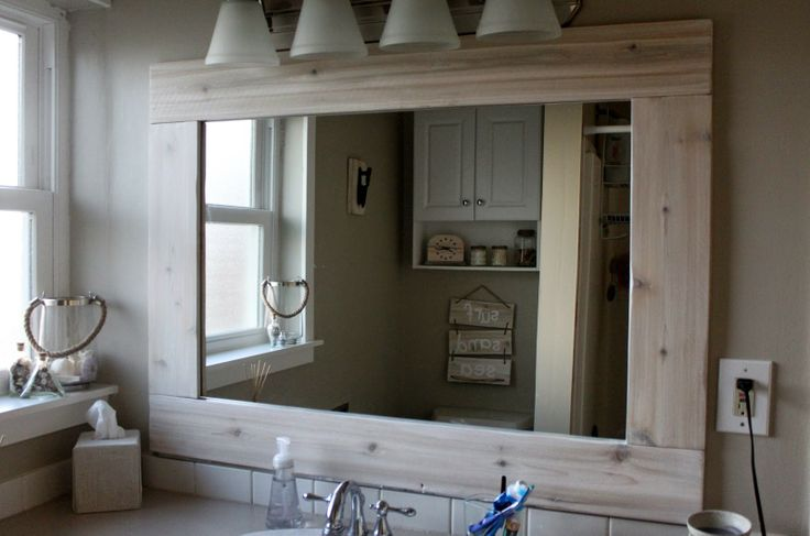 White wash wood mirror frame home mom check wood - White wood framed bathroom mirrors ...