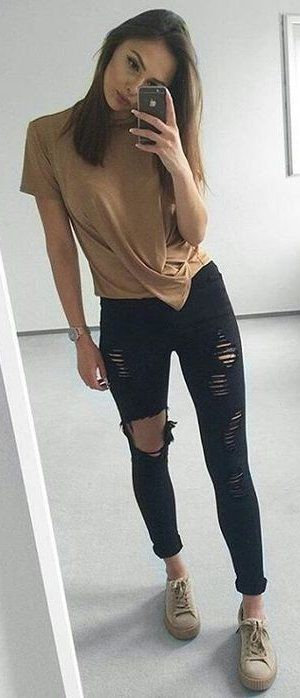 summer outfits  Camel Top + Black Destroyed Skinny Jeans