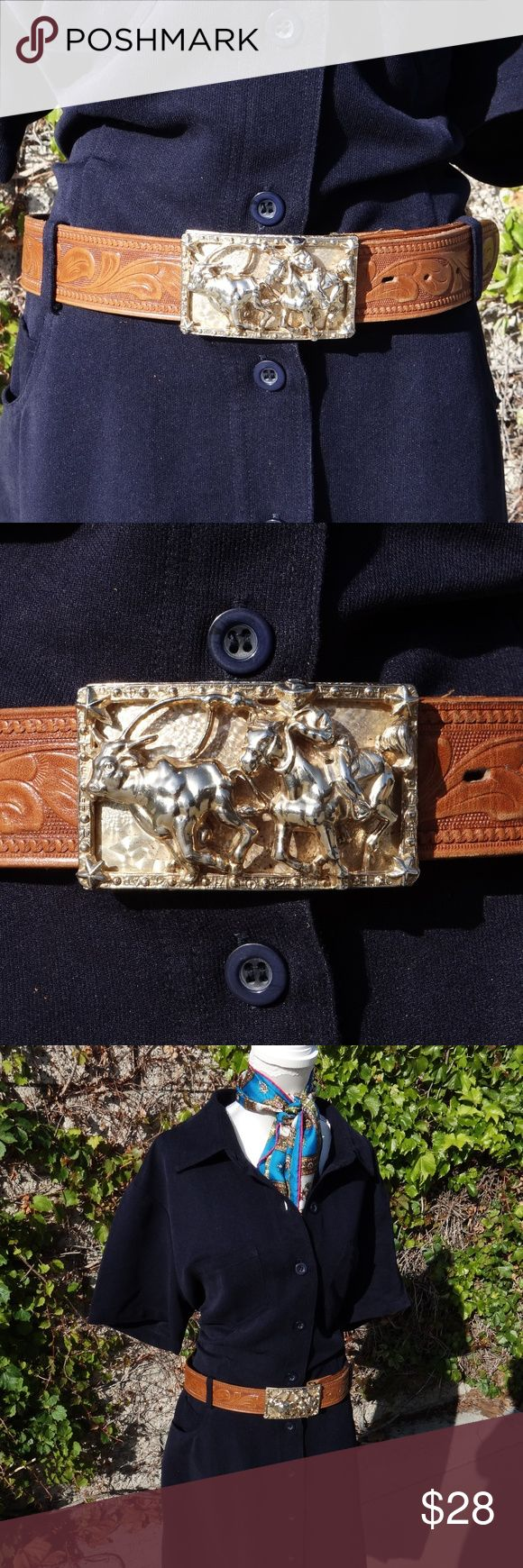 """VTG Metal Rodeo Belt Buckle & Leather Belt Let your Cowgirl come out with this awesome belt, rodeo style metal buckle ( not heavy).  Top Grain saddle leather belt, light brown color. In great condition 34"""" long size:M American Vintage Accessories Belts"""