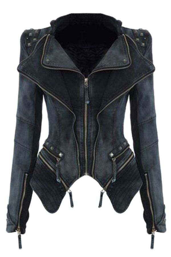 Free Shipping Worldwide for Womens Sharp Studded Shoulder Lapel Zipper Denim Jacket Black, on sale now at our lowest price ever! Shop PinkQueen.com, the sexy way to save.