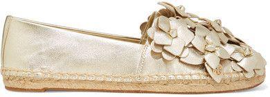 Tory Burch - Blossom Metallic Appliquéd Textured-leather Espadrilles - Gold
