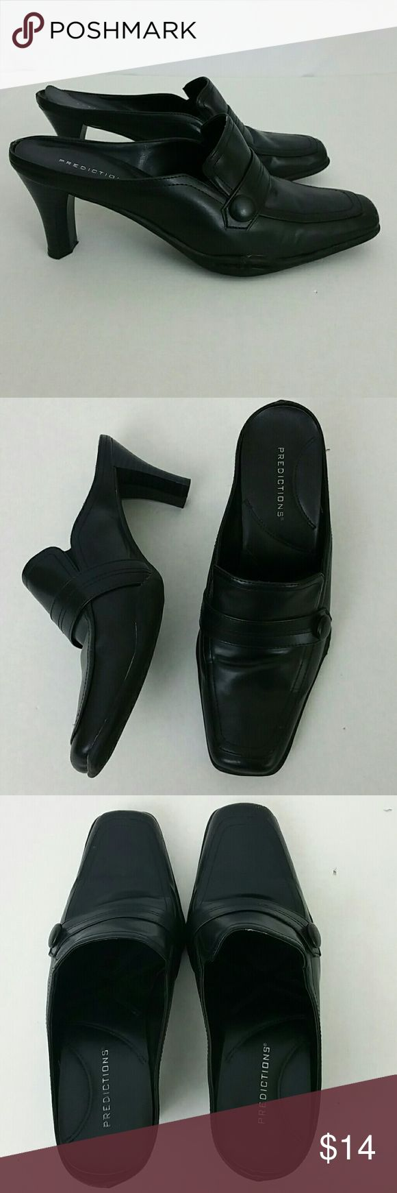 Predictions Womens Mules Square Toe Black Size 7W Predictions Womens Mules Square Toe Black Size 7W Slip On  Very Little Signs of Use Except Back Of Lining in Shoes Needs to be Tacked Down Lifting Please Examine Photos. Predictions  Shoes Mules & Clogs