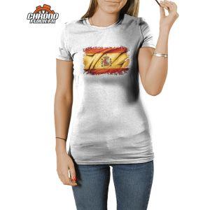 """T-shirt original imprimé du drapeau espagnol et de son blason, modèle homme et femme. Pour tous les supporters de """"La Furia Roja"""" espagnole, ce tee-shirt personnalisé de l'emblême de l'Espagne est un pur bonheur pour les amoureux du pays du soleil."""