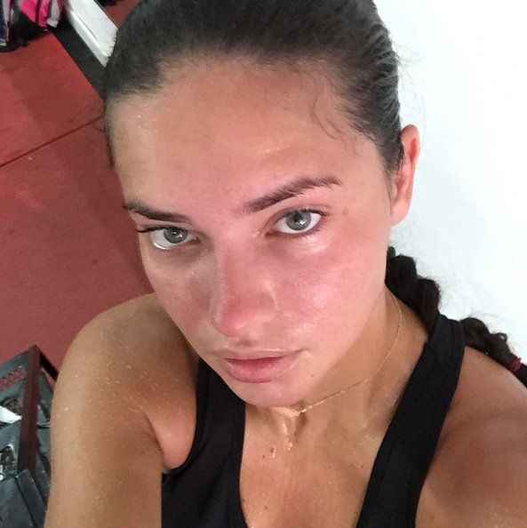 Pin for Later: Gigi Hadid and More Celebrities Embrace the Makeup-Free Selfie Adriana Lima Adriana shared her luminous skin secret — boxing! — in this selfie.