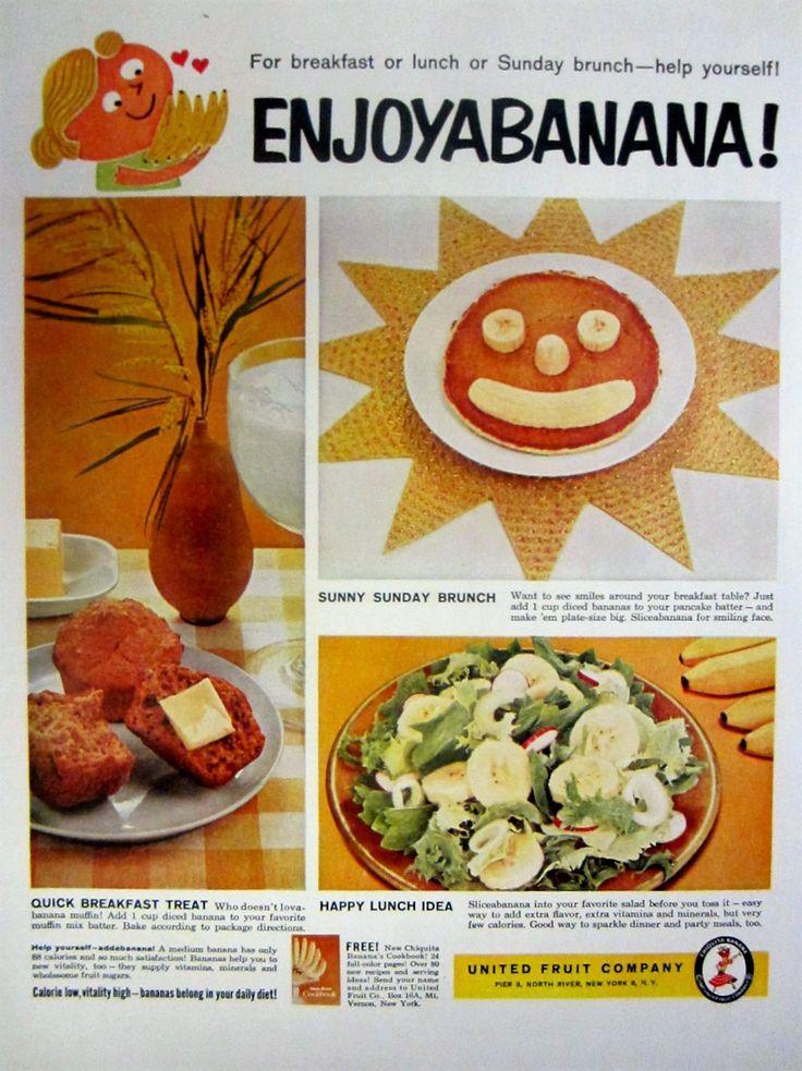 1959 United Fruit Company Enjoyabanana Banana Vintage Advertisement Kitchen Wall Art Dining Room Decor Original Magazine Print Ad Ephemera by RelicEclectic on Etsy