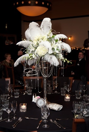 Ostrich feathers and beaded strand centerpieces